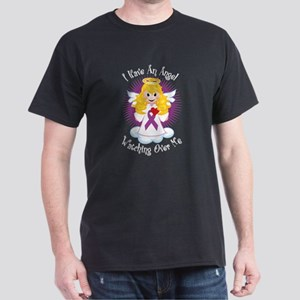 Angel Watching Purple Ribbon Dark T-Shirt