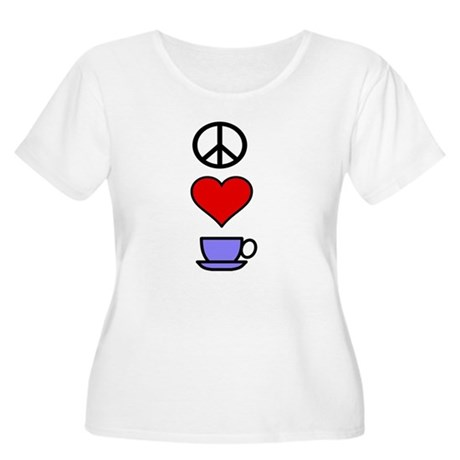 Peace Love Coffee 2 Women's Plus Size Scoop Neck T