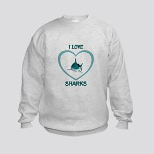 I Love Sharks Kids Sweatshirt