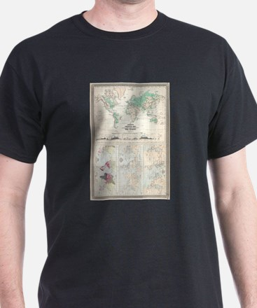 Vintage Physical & Climate Map of The Worl T-Shirt