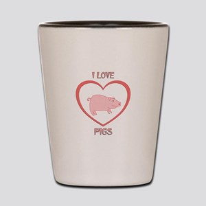 I Love Pigs Shot Glass