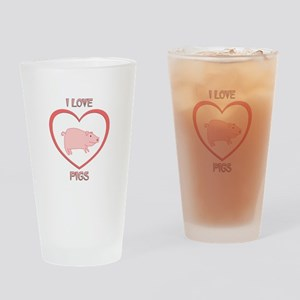 I Love Pigs Drinking Glass