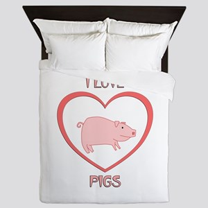 I Love Pigs Queen Duvet