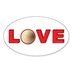 Volleyball Love 3 Sticker (Oval 50 pk)