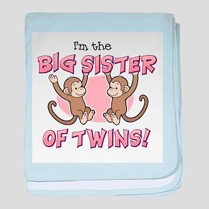 Big Sister of twins (Monkey) baby blanket