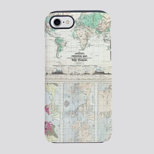 Vintage Physical & Climate Map iPhone 7 Tough Case