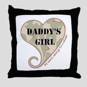 Daddy's girl camo soldier heart Throw Pillow
