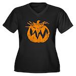 Grunge Pumpkin Women's Plus Size V-Neck Dark T-Shi