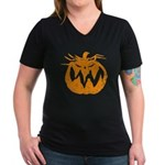 Grunge Pumpkin Women's V-Neck Dark T-Shirt