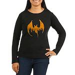 Grunge Bat Women's Long Sleeve Dark T-Shirt