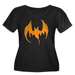 Grunge Bat Women's Plus Size Scoop Neck Dark T-Shi