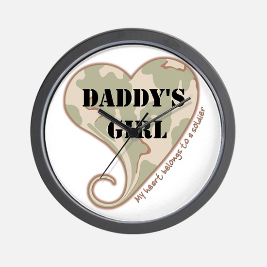 Daddy's girl camo soldier heart Wall Clock
