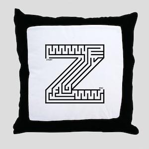 Letter Z Maze Throw Pillow