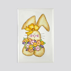 Country Bunny & Flowers Rectangle Magnet