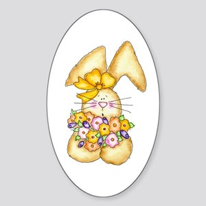 Country Bunny & Flowers Oval Sticker