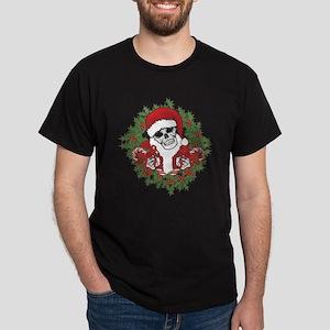 Santa Skull with Wreath Dark T-Shirt