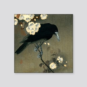 Vintage Japanese Crow and Blossom Woodbloc Sticker