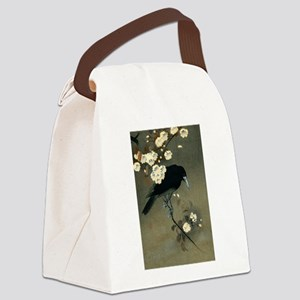 Vintage Japanese Crow and Blossom Canvas Lunch Bag