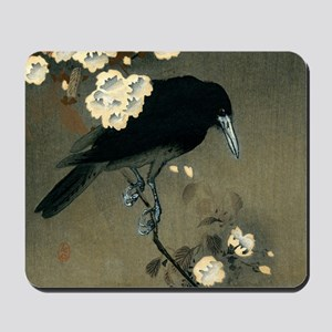 Vintage Japanese Crow and Blossom Woodbl Mousepad