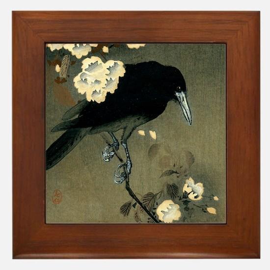 Vintage Japanese Crow and Blossom Wood Framed Tile