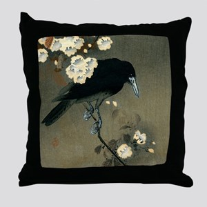 Vintage Japanese Crow and Blossom Woo Throw Pillow
