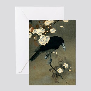 Vintage Japanese Crow and Blossom W Greeting Cards