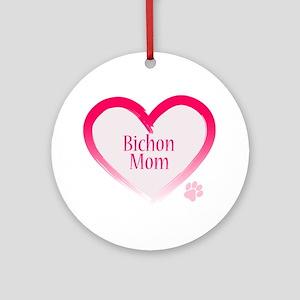 Bichon Pink Heart Ornament (Round)
