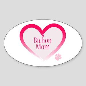 Bichon Pink Heart Sticker (Oval)
