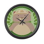 Asian Blue Bear Large Wall Clock