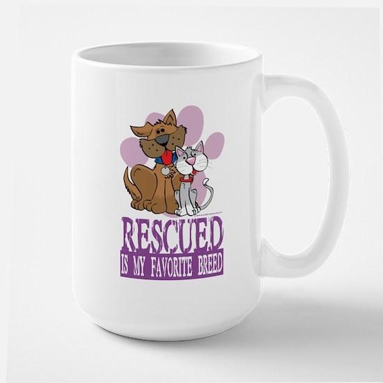 Rescued Is My Favorite Breed Large Mug
