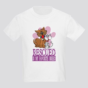 Rescued Is My Favorite Breed Kids Light T-Shirt