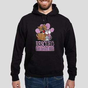 Rescued Is My Favorite Breed Hoodie (dark)