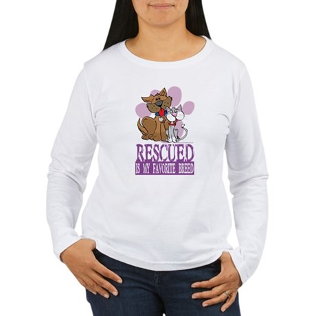 Rescued Is My Favorite Breed Women's Long Sleeve T