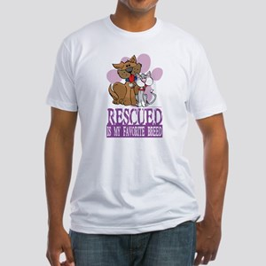 Rescued Is My Favorite Breed Fitted T-Shirt