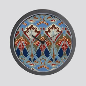 Red Blue Art Deco Floral Pattern Wall Clock