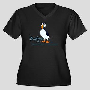 Puffin Women's Plus Size V-Neck Dark T-Shirt