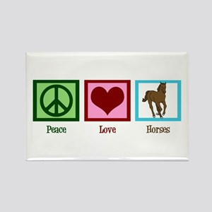 Peace Love Horses Rectangle Magnet