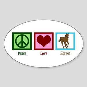 Peace Love Horses Sticker (Oval)