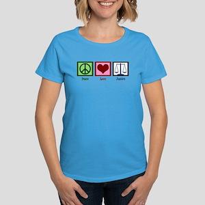 Peace Love Justice Women's Dark T-Shirt