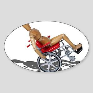 Wheelie Wheelchair Sticker (Oval)