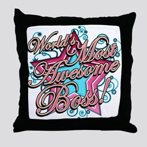 Worlds Most Awesome Boss Throw Pillow