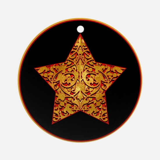 Gold Leaf Star Ornament (Round)