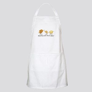 """Dumplings of the World, Unite!"" white apron"