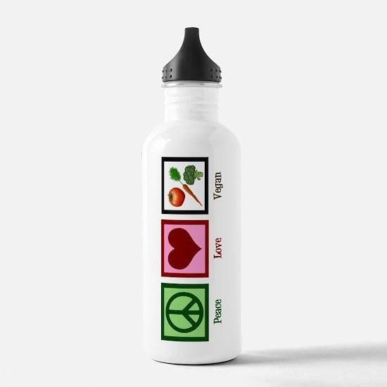 Peace Love Vegan Sports Water Bottle