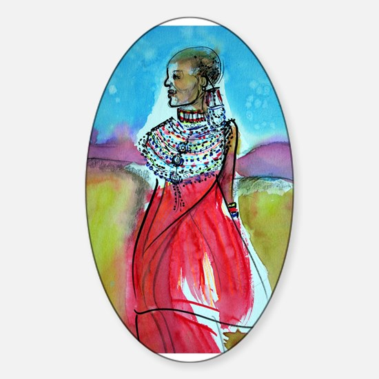 Africian Queen, Colorful, Sticker (Oval)