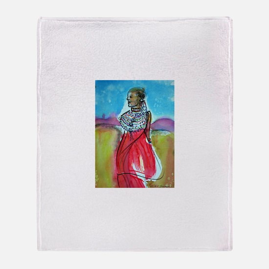 Africian Queen, Colorful, Throw Blanket