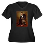 Lincoln / Chocolate Lab Women's Plus Size V-Neck D