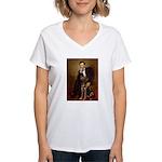 Lincoln / Chocolate Lab Women's V-Neck T-Shirt