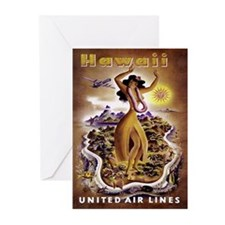Retro United Hawaii Poster Greeting Cards (Package