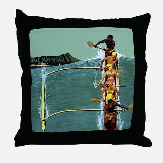 Vintage United Waikiki Poster Throw Pillow